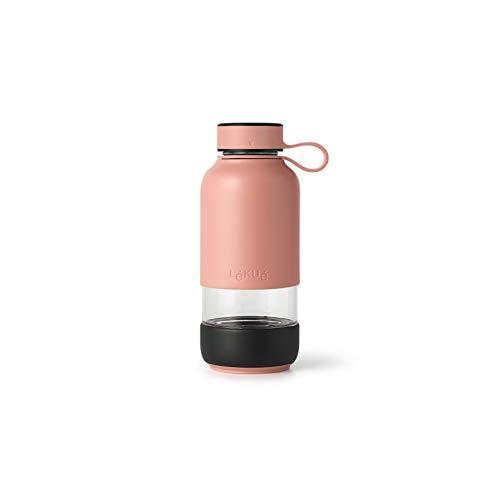 Lékué Botella Vidrio con Funda de Silicona, Coral, 600 ml