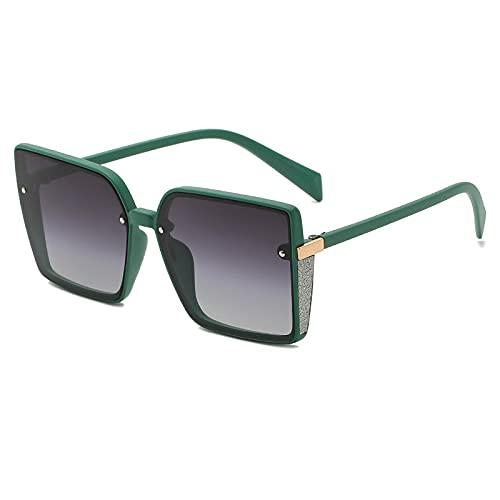 YHKF Gafas De Sol Cuadradas De Moda con Montura De Metal para Mujer, Gafas De Gran Tamaño, Montura De Gafas para Mujer, Grandes Gafas De Sol Vintage, Uv400-Matte_Green