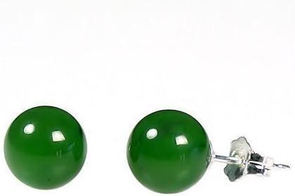 Trustmark 14K White Gold 8mm Natural Nephrite Green Jade Ball Stud Post Earrings