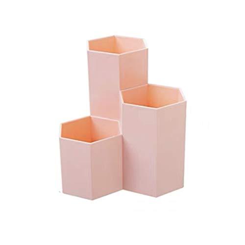 オフィス収納 ペンケース ペン立て ペンスタンド 鉛筆立て 多機能卓上収納ケース 大容量 文具収納ボックス卓上スタンド ブラスチック製ペン立て (ピンク)