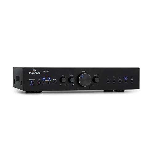 auna AV2-CD608BT HiFi-StereoVerstärker, Ausgangsleistung: 4 x 100 Watt RMS, Bluetooth, Eingänge: 1 x Digital Optisch / 4 x Stereo-RCA, Infrarotfernbedienung, Frontplatte aus Aluminium, pianoschwarz