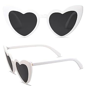 SOJOS Heart Shaped Sunglasses Clout Goggle Vintage Cat Eye Mod Style Retro Glasses Kurt Cobain SJ2062 with White Frame/Grey Lens