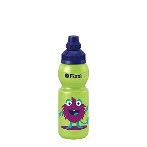 Fizzii Kinder- und Freizeittrinkflasche 330 ml (auslaufsicher bei Kohlensäure, schadstofffrei, spülmaschinenfest, Motiv: Monster-Kids)