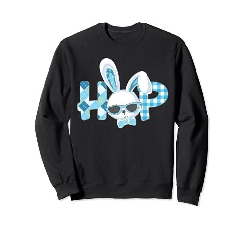 Camisa de Pascua para niños y niñas pequeños Hop Plaid Conejito de Pascua Sudadera