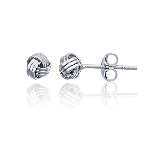 Solid 925 Sterling Silver 5mm Love Knot Stud Earrings for Women and Girls   Hypoallergenic Sterling Silver   Classic Love Knot Twist   Secure Friction Back Closure   High Polished Earrings