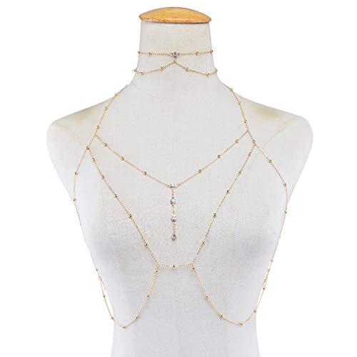 #N/A Qihang Faux Diamond Anhänger Brustkette, Sexy Quaste Body Chain Beach Bikini Zubehör für Frauen,Golden