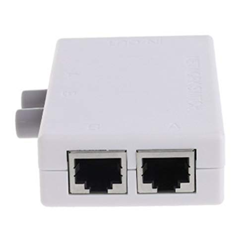 healthwen Conmutador de Red de 2 Puertos Selector de Cat LAN Mini Internet Conmutador de Red Externo Interno RJ45-2M Conmutador de Red Compartidor