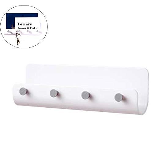 yyuezhi Wandhalterung Ablageregal Schlüsselbrett Mit 4 Schlüsselanhängern Schlüsselbrett mit Ablage ordentliche Aufbewahrung von Schlüssel Schlüsselbrett Multifunktional Schlüsselbrett (Weiß)