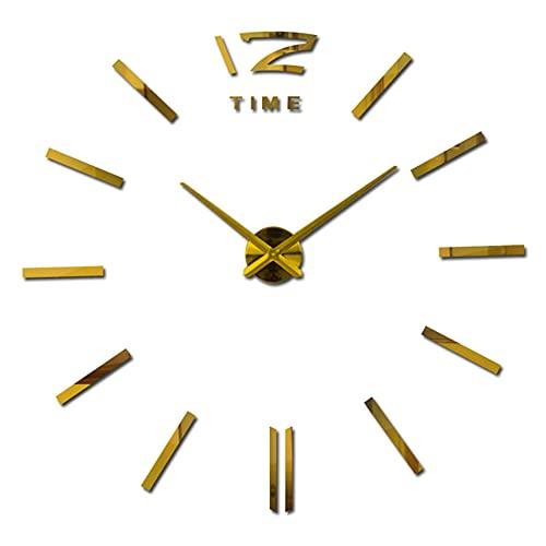 Sala de estar nuevo acrílico reloj de cuarzo relojes 3D decoración del hogar caliente metal etiqueta engomada rollo reloj de pared