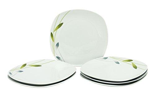 Van Well Serenade Serenade, 6-delige set, platte platte platte platte platte platte platte platte platte platte platte platte platte platte platen, hotelporselein, geraffineerde plantendecoratie, gastronomisch servies