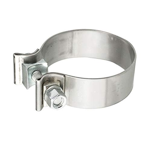 Stainless Steel Exhaust Clamps - Catalytic Converter Repair Parts, 2.5' Narrow Band Clamp, Great for Exhaust Tip, Exhaust Resonator, Exhaust Manifold, Exhaust Flex Pipe, Exhaust Muffler Repair Project