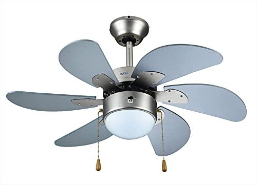 Avant Ventilador de Techo Medida 75Cm 70Watios | Ventilador de Techo con luz Incluye 3 Velocidades y Funcion Invierno, 6 Aspas de Fibra, Lámpara + Cadenas para Control de Velocidad y luz |Color Plata