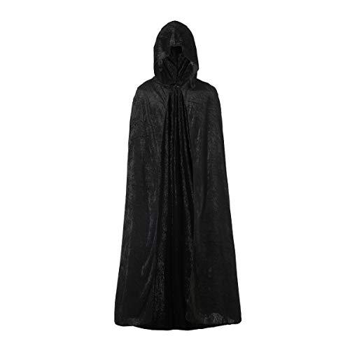 Capa con Capucha Terciopelo Largo Medieval, Disfraces de Bruja, Vampiro Princesa, Fiesta de Carnaval Halloween, para Hombre Mujer Niño y Niña (Negro, 90)