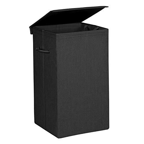 SONGMICS Wäschekorb 85 L, Wäschesammler aus Leinenimitat, Wäschetruhe mit magnetischem Deckel und Griffen, faltbar, Wäschesack herausnehmbar, Schwarz LCB01BK