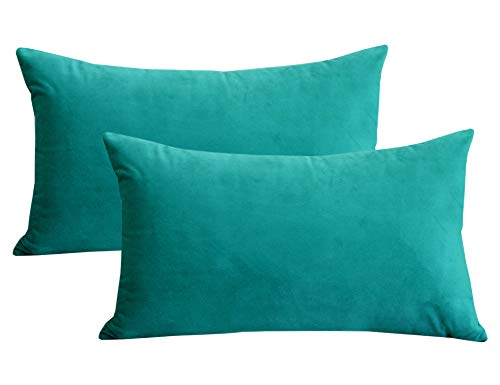 Lutanky Velvet Cushion Covers (Pack of 2) Lovely Rectangle Throw Pillow Cases Soft Solid Decorative Pillow Covers for Sofa Bedroom Car 12x20 Inch 30 x 50 cm(dark-teal, 2 pieces)
