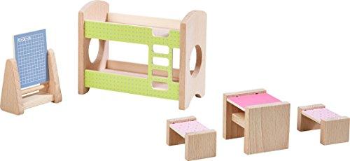 HABA 303836 - Little Friends – Puppenhaus-Möbel Kinderzimmer für Geschwister   Mit Bett, Schreibtisch, Stuhl und Regal   Passend für alle Little Friends-Puppenhäuser