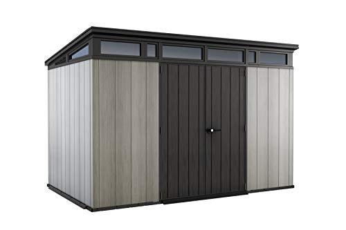Keter Artisan Pent Outdoor Plastic Garden Storage Shed, Grey, 11 x 7 ft