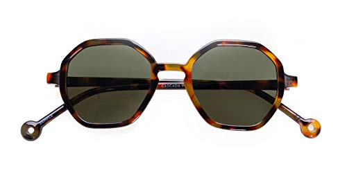 PARAFINA Cascada Gafas de Sol para Mujer y Hombre, Protección UV400, Gafas Eco-Friendly Polarizadas, Resistentes al Agua y Ultra Ligeras, Montura Eco-friendly color Carey y Lentes Verdes