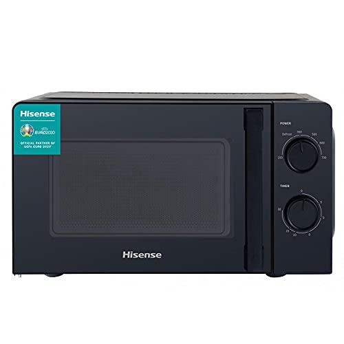 Hisense H20MOBS1H - Microondas, Capacidad de 20 L, 700 W de Potencia, 6 Niveles, Temporizador 30 Min, Modo Descongelar, Tirador, Estándar, Acabado Negro