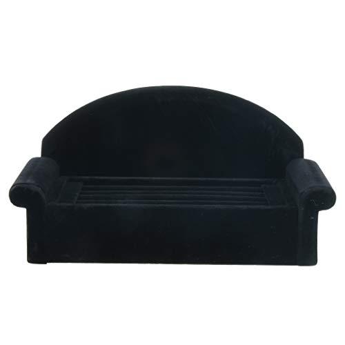 SDENSHI Forma de Sofá Negro Soporte de Exhibición de Joyas Pendientes de Anillo Organizador de Soporte de Terciopelo