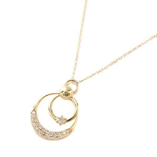 18金(K18) ダイヤモンド ペンダント 揺れて輝く ネックレス 可愛い ダブル ムーン スイング ダイヤ 0.2ct