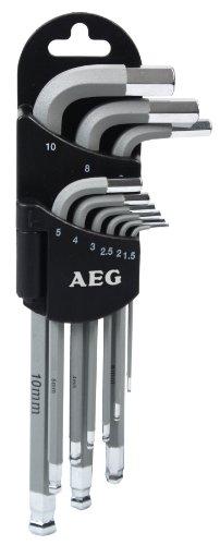 AEG 005065 set met 9 sleutels, 6-kant, incl. houder