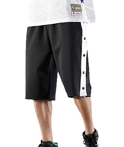 Pantalones cortos casuales de fitness sueltos de los hombres con botón de presión lateral pantalones de entrenamiento de baloncesto, Negro, 3XL