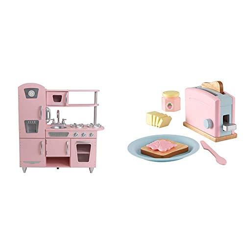 KidKraft 53179 Vintage Spielküche, Rosa & 63374 Spielset Spielzeug-Set mit Toaster, Pastellfarben, XL