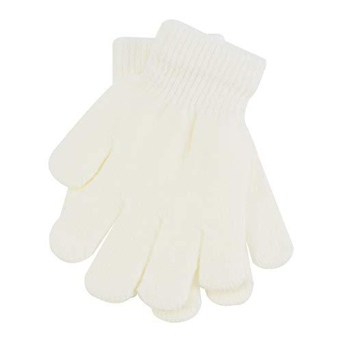 Garneck - Guantes para niños de invierno de punto liso, 5 dedos, guantes cálidos, para 4 a 12 edad, color blanco