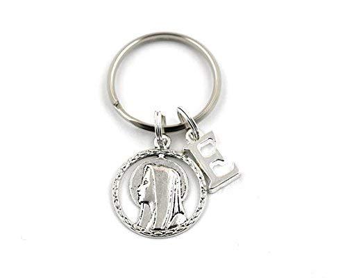 Llavero de plata con diseño de caballero de la Virgen María, personalizado, religioso, cualquier inicial, bautismo, bautizo, bolsa de regalo