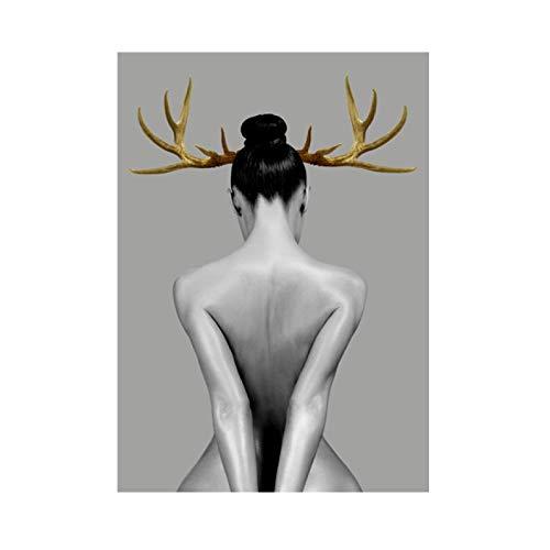 Personaje en blanco y negro Minimalista Elk Antlers Lienzo Pintura Mural Chica Arte abstracto Sala de estar Dormitorio Decoración Pintura Núcleo 60x80cm