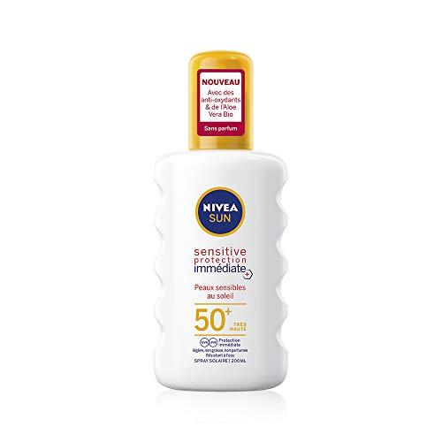 NIVEA SUN Spray solaire Sensitive protection immédiate FPS 50+ (1x200 ml), protection solaire adaptée aux peaux sensibles, écran solaire texture légère & non grasse