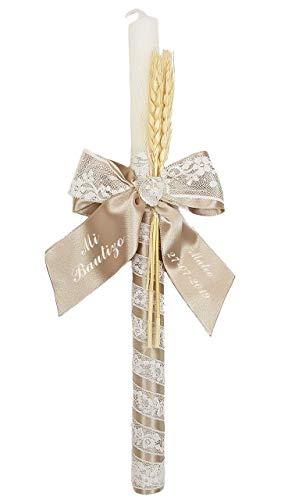 Vela o cirio para Bautizo de Cera Blanca Personalizada con Nombre y Fecha. Modelo París (Camel)