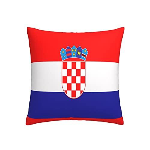 Kissenbezug mit Flagge von Kroatien, verwendet für Reiseagenturen, Geschichte, quadratisch, dekorativer Kissenbezug für Sofa, Couch, Zuhause, Schlafzimmer, Innen- & Außenbereich, 45,7 x 45,7 cm