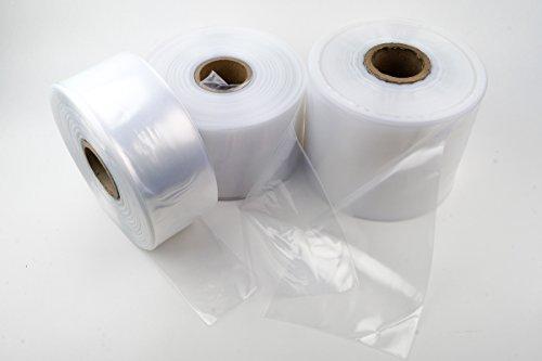 LDPE Schlauchfolie auf Rolle, 150mm breit, 50my stark, transparent und scannerlesbar, 500m Lauflänge, lebensmittelechte Beutelfolie