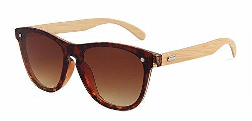 ZUTYJ Película de Color de una Pieza Co-Espejo Gafas de Moda una Ronda de Arroz Uñas de Bambú Piernas Gafas de Sol Gafas de Sol,Mi,Todo el código