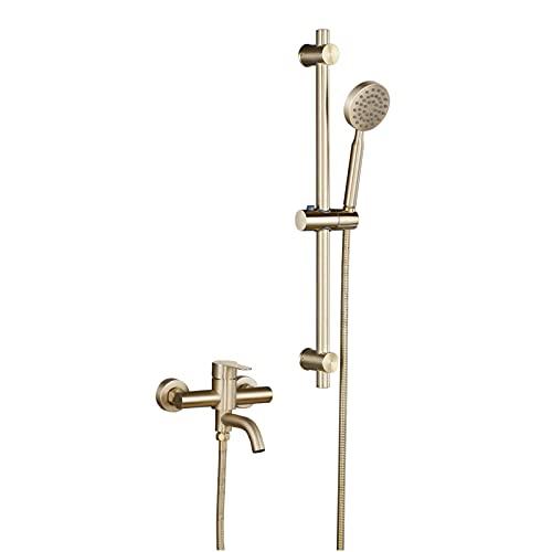 Shower Set Oro Cepillado Grifo de Bañera Montaje en Pared Grifería de Bañera Acero Inoxidable Mezclador de Bañera con Ducha de Mano, Barra de Ducha Elevable
