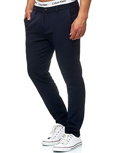 Indicode Herren Rodekro Chinohose Super Stretch mit 4 Taschen | Lange Chino Hose Herrenhose Männerhose gerader Schnitt Bequeme Regular Fit Stoffhose für Männer Navy 36/32