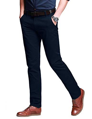 Matchstick Herren Slim-Tapered Flat-Front Casual Hose #8050(8050 Navy blau#1,34)