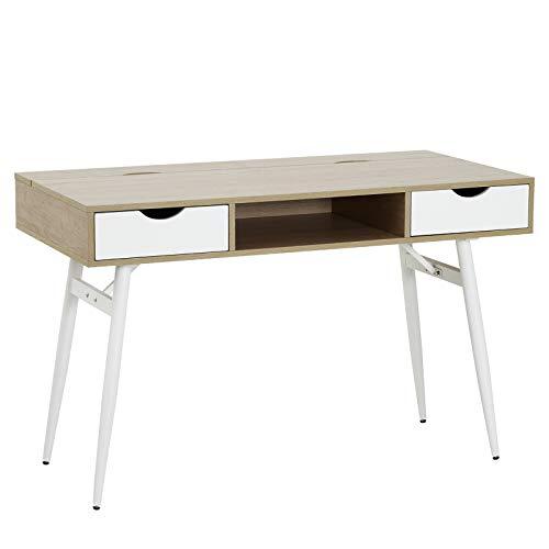 HOMCOM Schreibtisch PC-Tisch Bürotisch Arbeitstisch Computertisch mit 2 Schubladen Holz + Stahl Eiche + Weiß 120 x 60 x 76 cm