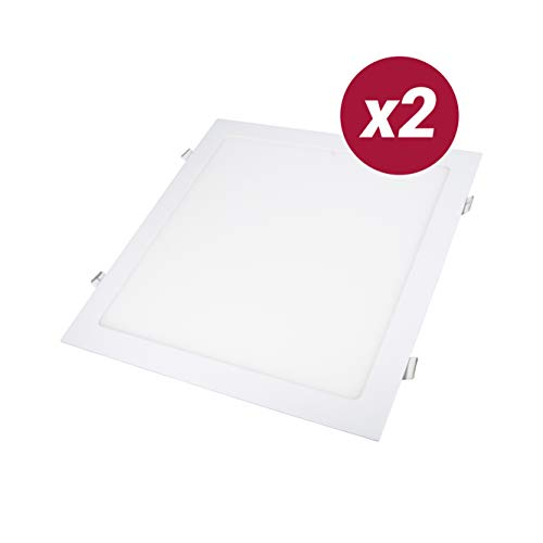 POPP- Pack 2 Downlight LED Extraplano Cuadrado Blanco,chip OSRAM Iluminacion LED Plafón de Techo (4000K, 24W)