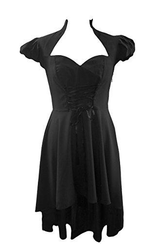 DangerousFX zwart corset-top, Victoriaanse steampunk stijl jurk met visstaart zoom