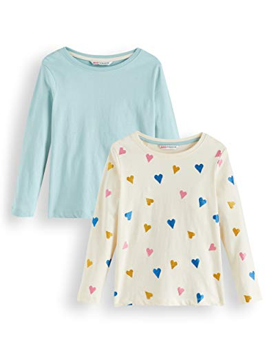 Amazon-Marke: RED WAGON Mädchen Langarmshirt Glitter Heart 2er pack, Mehrfarbig (Cream And Blue), 104, Label:4 Years