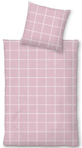 LIVING DREAMS Halbleinen Bettwäsche AGROPOLI - hautsympathische Leinen Baumwollmischung - schönes, puristisches Wäschekaro (135x200 cm + 80x80 cm, rosé)