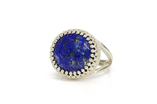 Anemone Jewelry de Anillos Elegantes - Anillo de Lapislázuli de Plata de Ley 925 Hecho a Mano - Anillo de Piedra de Nacimiento de Septiembre Personalizado, Regalos para Señoras - Elija el Tamaño