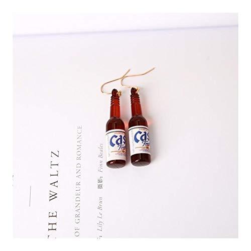 GSZPXF Pendientes de la Personalidad de la Manera Simple Botella de Cerveza Creativa Pendientes Pendientes del diseño for Las Mujeres joyería (Color : Brown)