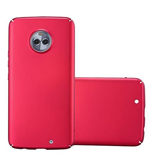 Cadorabo Hülle für Motorola Moto X4 - Hülle in Metall ROT – Hardcase Handyhülle im Matt Metal Design - Schutzhülle Bumper Back Case Cover