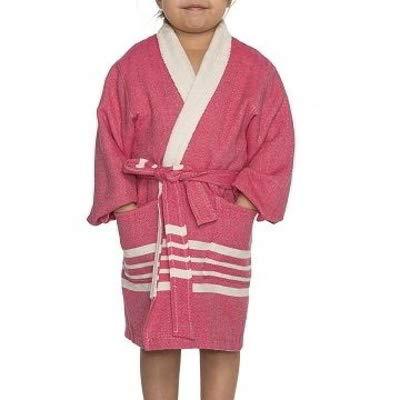 Hamam Kinderbadjas Fuchsia - maat 4-5 jaar - jongens/meisjes/unisex pasvorm - comfortabele sjaalkraag - kinder badjassen - kinder badjas badstof