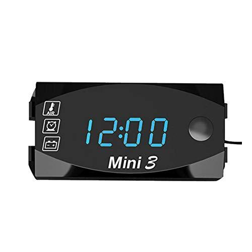 bowlder Mini Autothermometer Motorrad Elektronische Thermometer Voltmeter IP67 Wasserdicht Staubdicht LED Uhr mit Universal Großbild Digitalanzeige