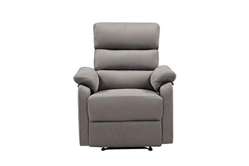 Recliner Chair, Lazy Boy Recliner, Manual Recliners for Living Room and Lounge, Ergonomic Lounge Chair with Grey Fabric (Grey)